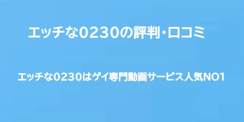 エッチな0230はゲイ専門動画サービス人気NO1